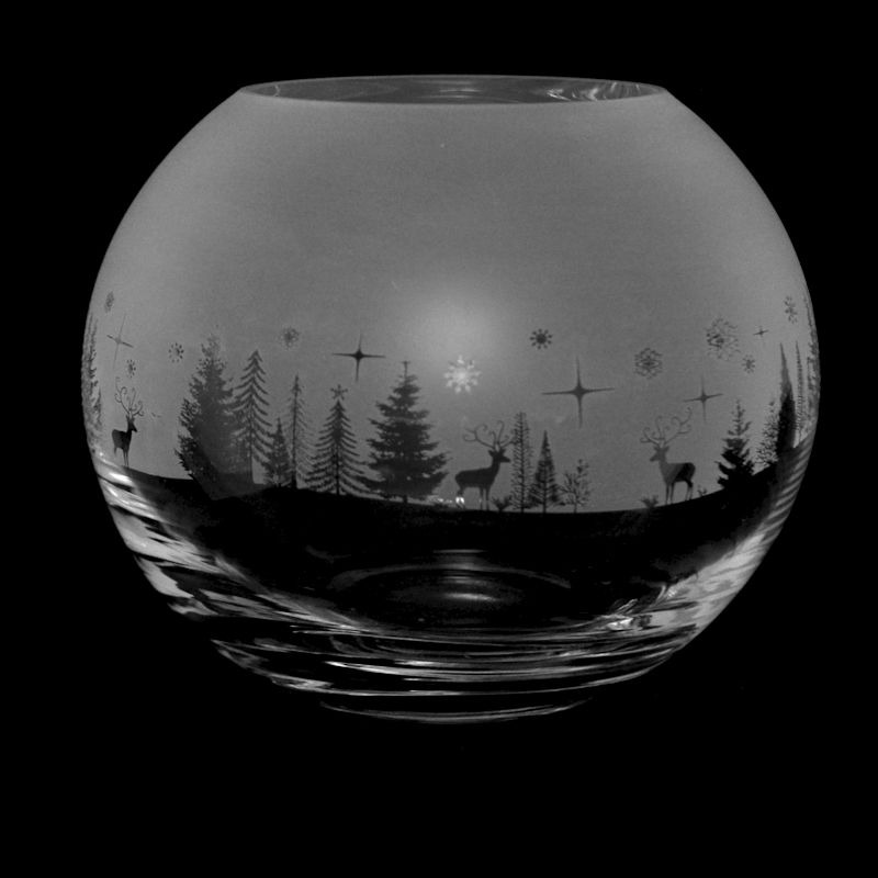 WINTER WONDERLAND Small Crystal Glass Globe Vase