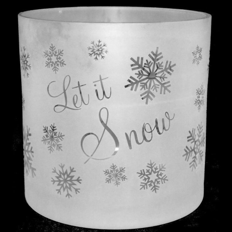 LET IT SNOW 17cm Glass Column Vase / Candleholder