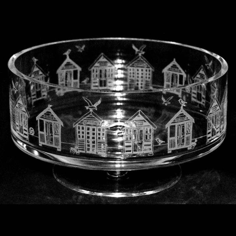 BEACH HUTS 24cm Crystal Glass Footed Comport Bowl