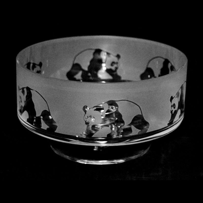 PANDA 14cm Small Crystal Glass Footed Comport Bowl