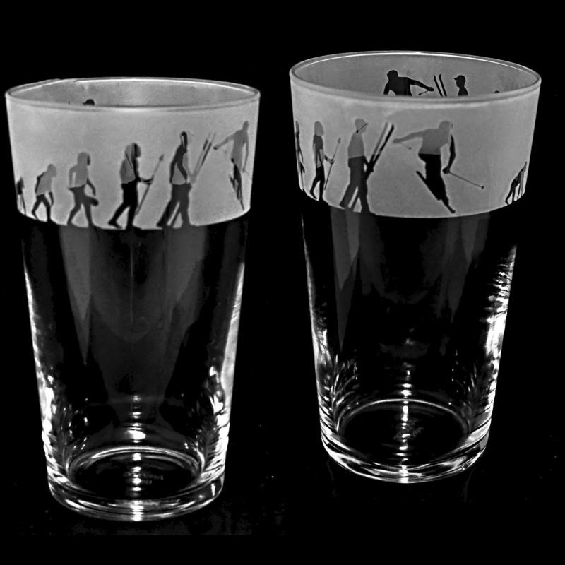 SKIING EVOLUTION Conical Pint Glass 57cl