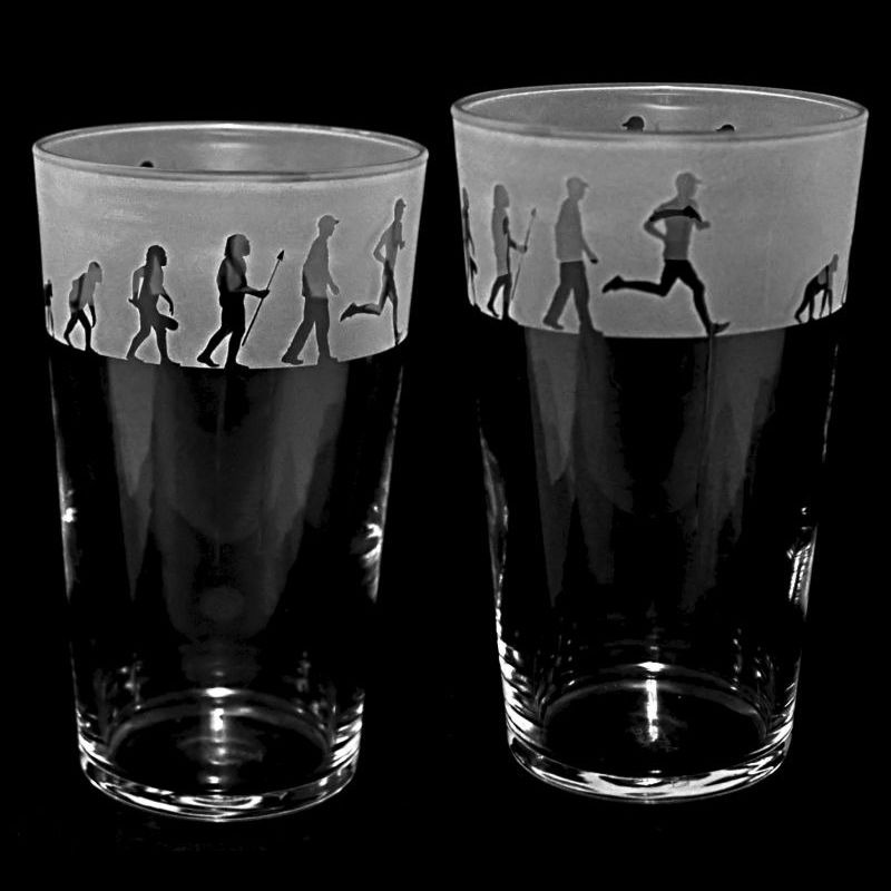 RUNNING EVOLUTION Conical Pint Glass 57cl
