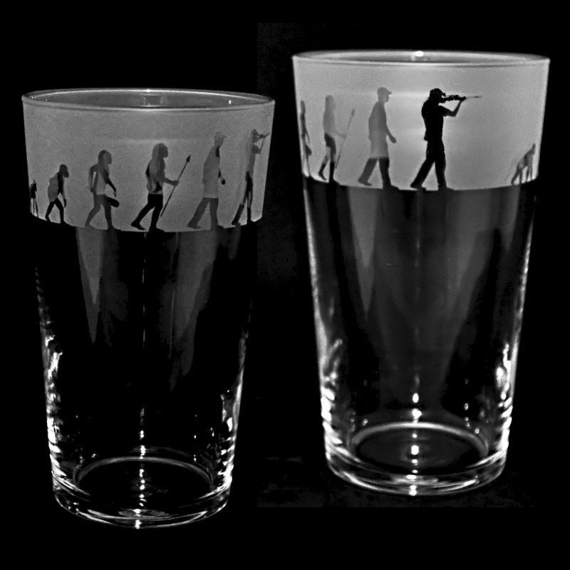 SHOOTING EVOLUTION Conical Pint Glass 57cl