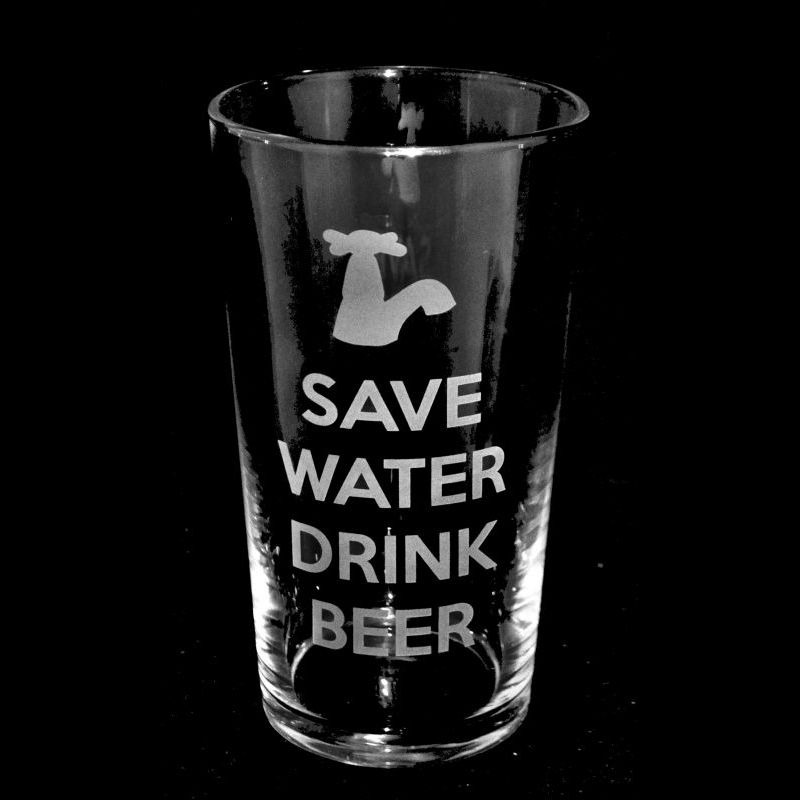 SAVE WATER DRINK BEER Conical Pint Glass 57cl