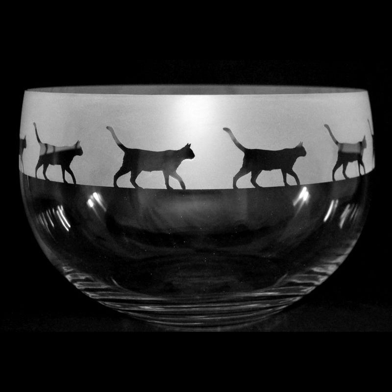 WALKING CAT Medium Crystal Glass Bowl