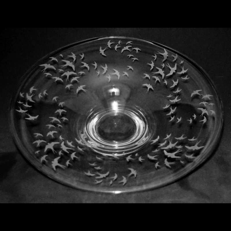 SWALLOWS Small Glass Platter