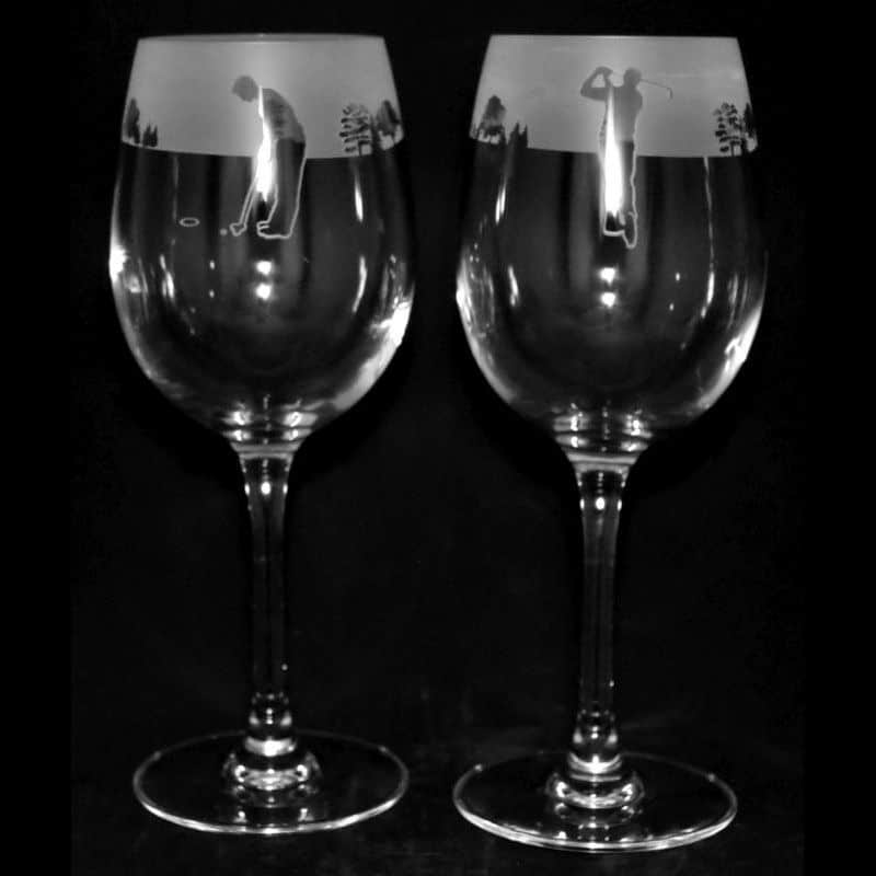 GOLF MAN – PAIR – Crystal Wine Glass 24.5cl