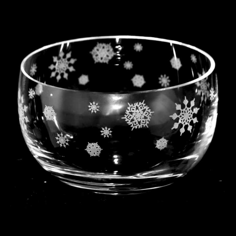 SNOWFLAKES Small Crystal Glass Bowl