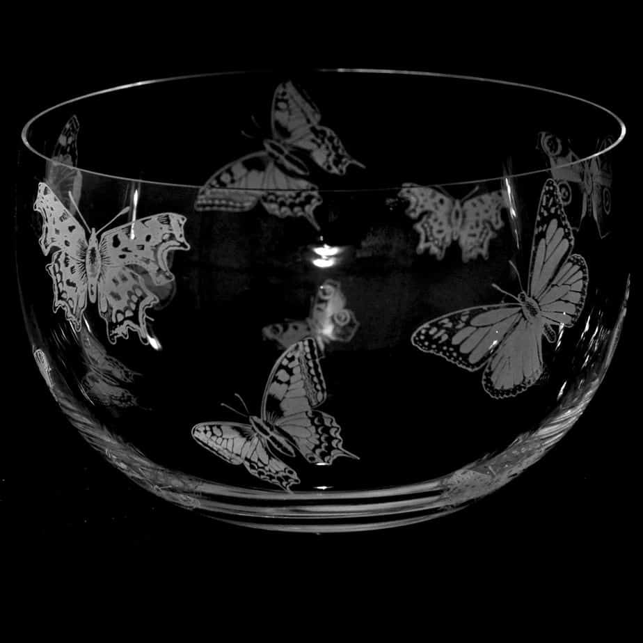 ALL OVER BUTTERFLY Large Crystal Glass Bowl