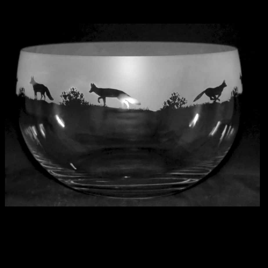 FOX Large Crystal Glass Bowl