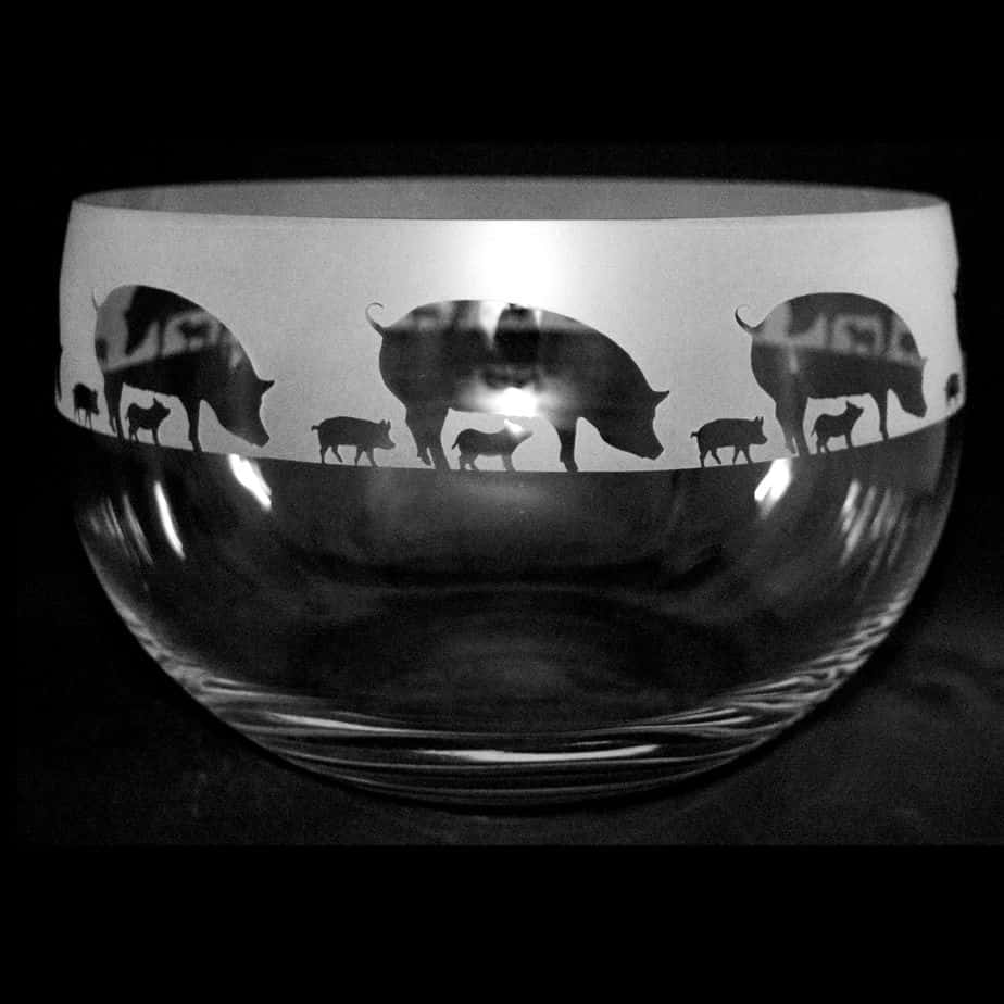 PIGS Large Crystal Glass Bowl
