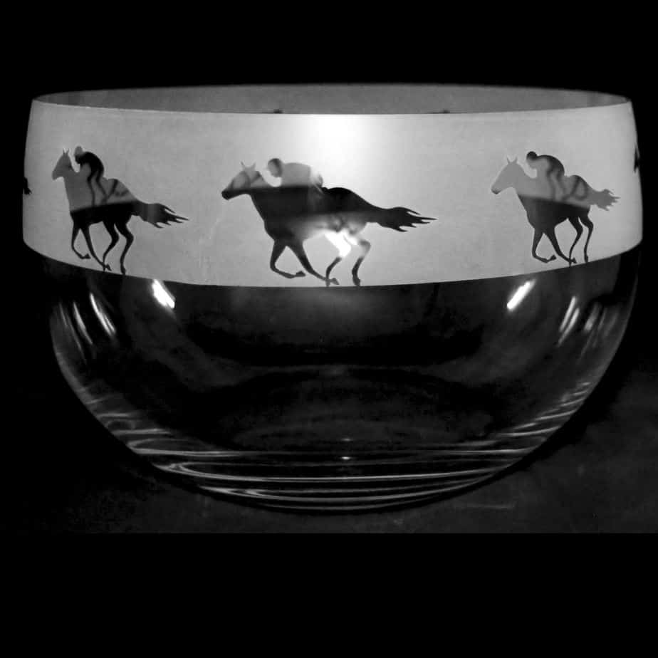 RACEHORSE Large Crystal Glass Bowl
