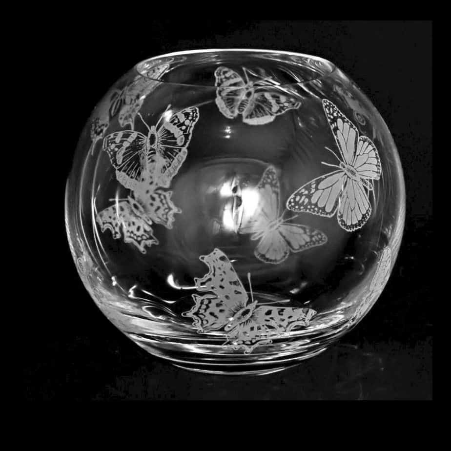 ALL OVER BUTTERFLY Small Crystal Glass Globe Vase
