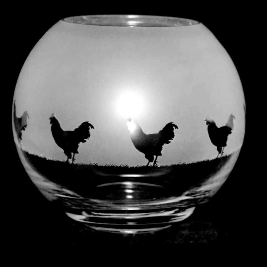 COCKEREL Small Crystal Glass Globe Vase