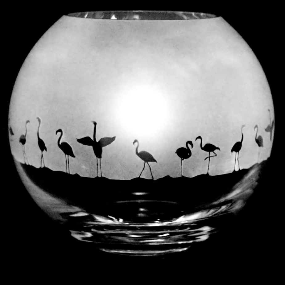 FLAMINGO Small Crystal Glass Globe Vase