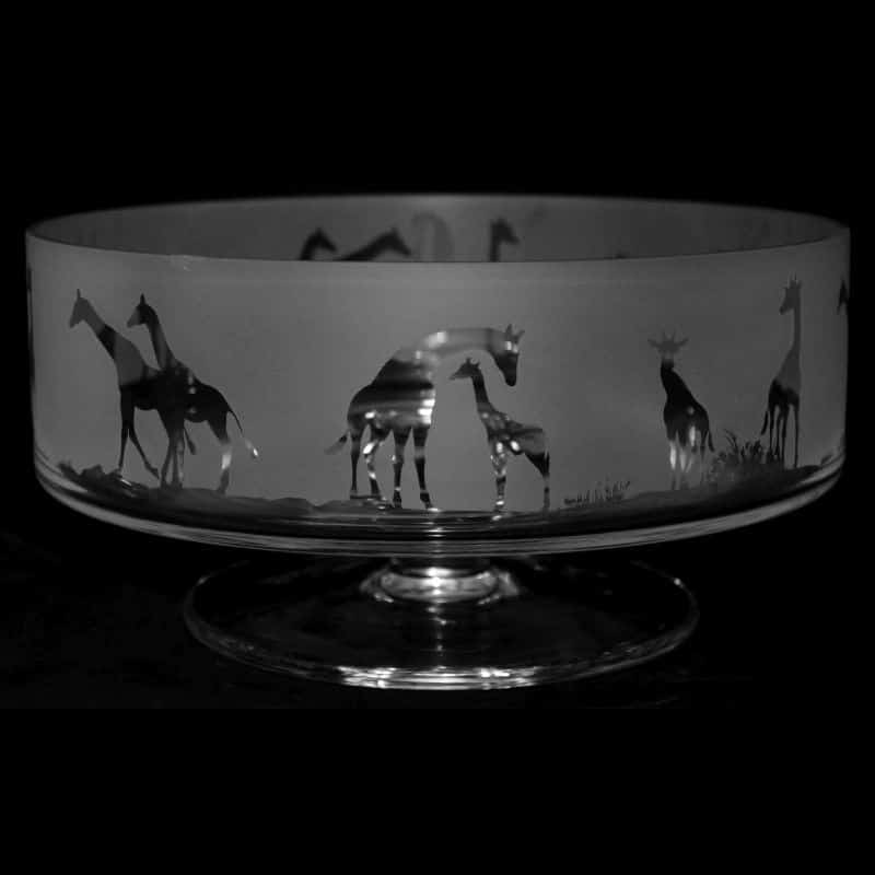 GIRAFFE 24cm Crystal Glass Footed Comport Bowl