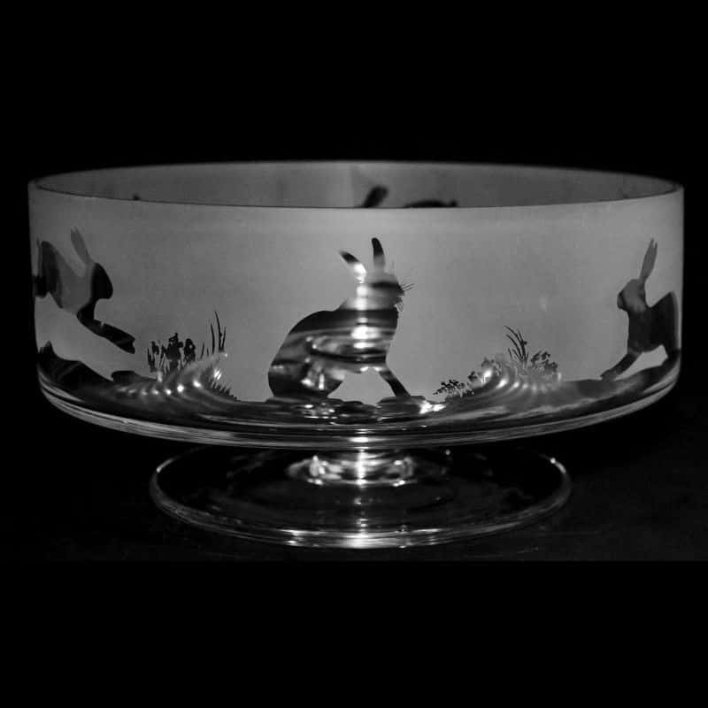 HARE 14cm Small Crystal Glass Footed Comport Bowl