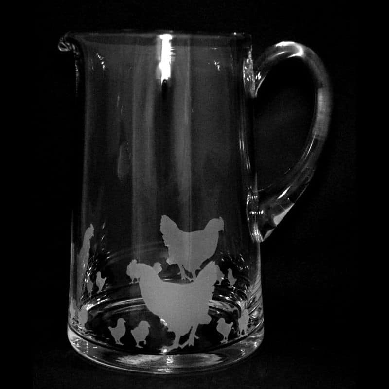 CHICKENS Large 1.7 Litre Glass Tapered Jug