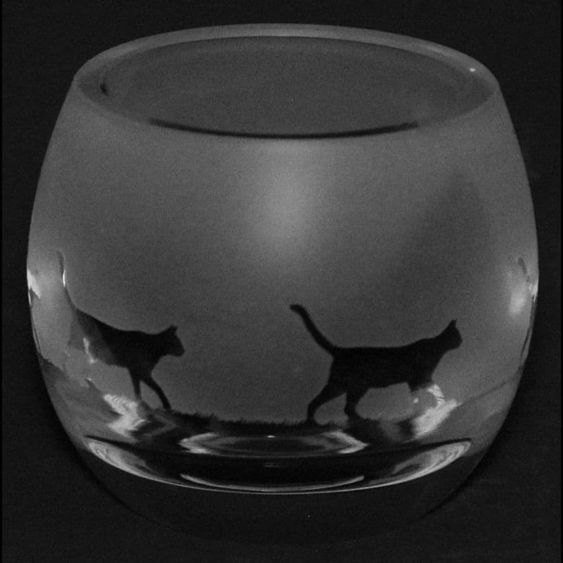 WALKING CAT Crystal Glass Tea Light Holder