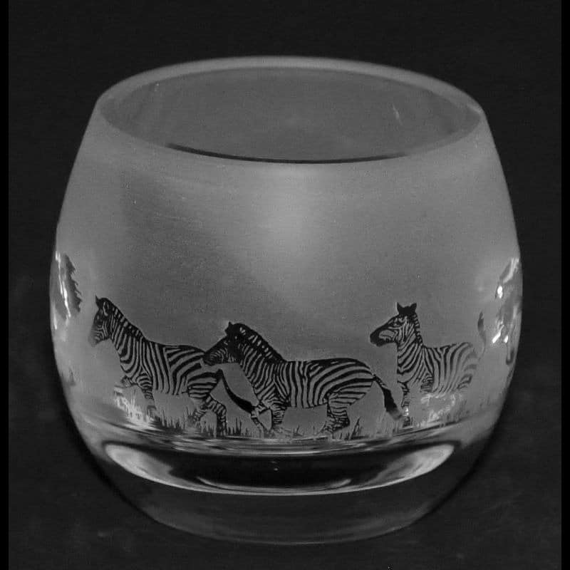 ZEBRA Crystal Glass Tea Light Holder
