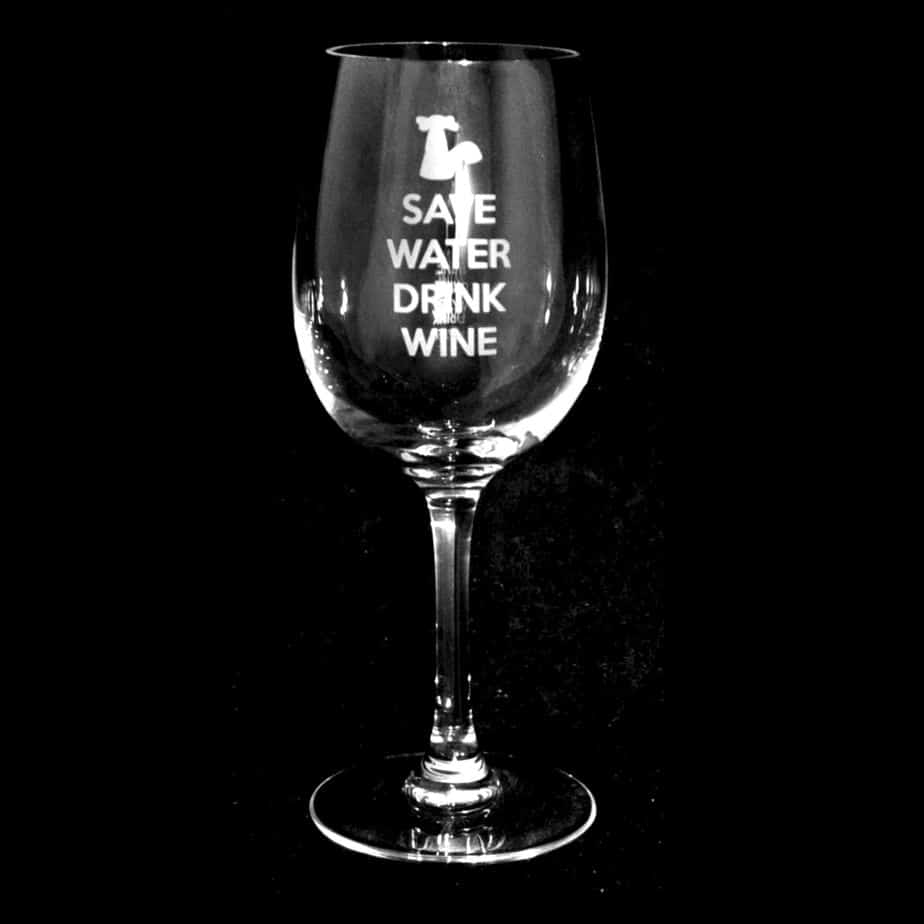 SAVE WATER DRINK WINE Crystal Wine Glass 35cl