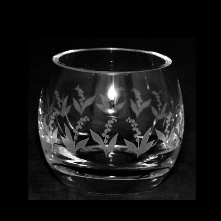 LILY OF THE VALLEY Crystal Glass Tea Light Holder