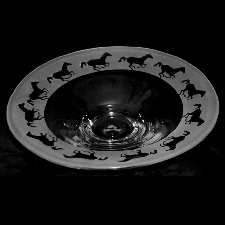 GALLOPING HORSE Small Glass Platter
