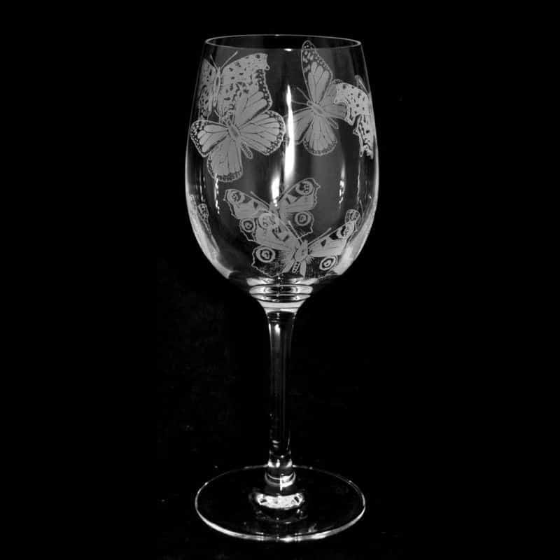 ALL OVER BUTTERFLIES Crystal Wine Glass 35cl