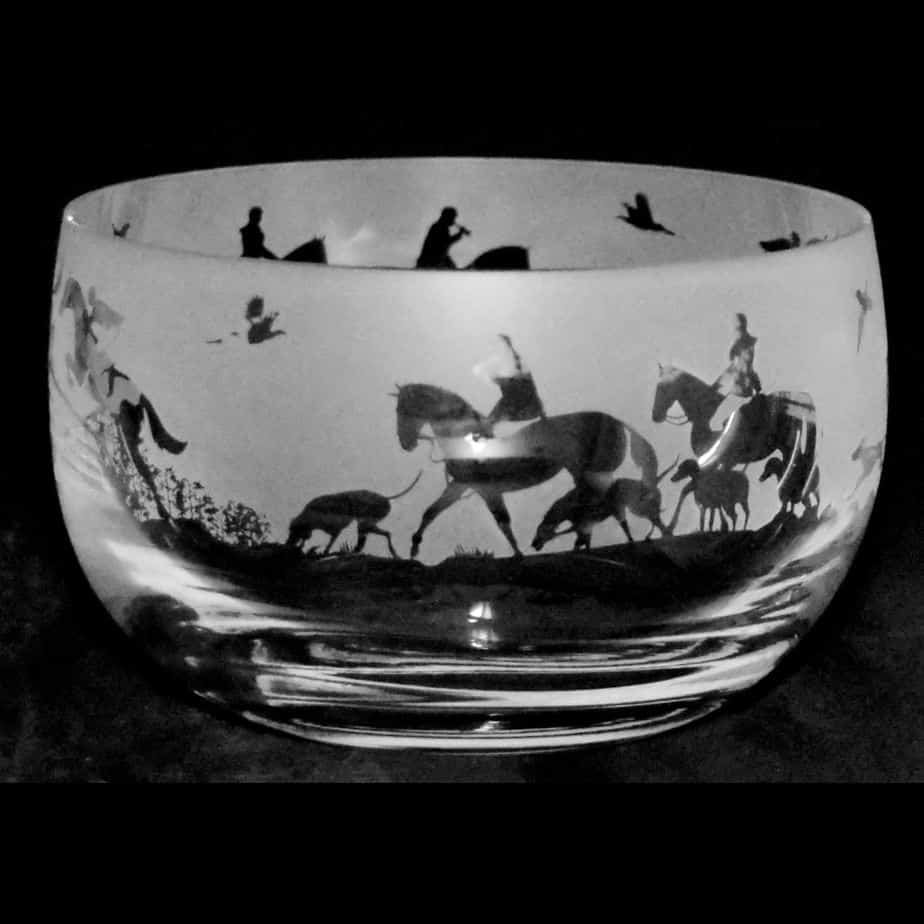 HUNTING SCENE Small Crystal Glass Bowl