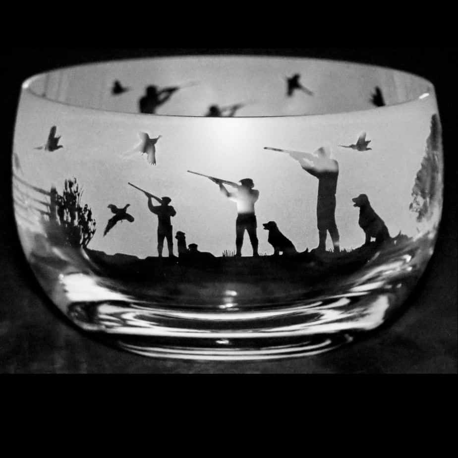 COUNTRY LIFE SHOOTING SCENE Small Crystal Glass Bowl