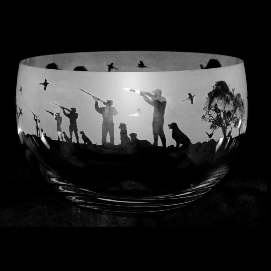 COUNTRY LIFE SHOOTING SCENE Large Crystal Glass Bowl