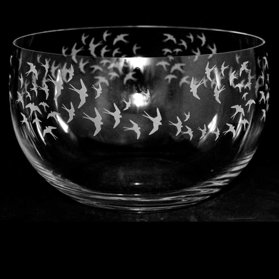 SWALLOWS Large Crystal Glass Bowl