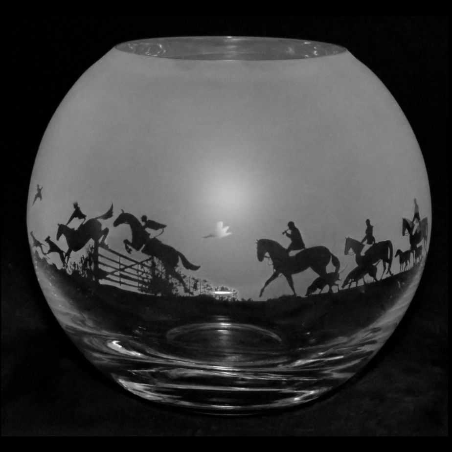 COUNTRY LIFE HUNTING Small Crystal Glass Globe Vase