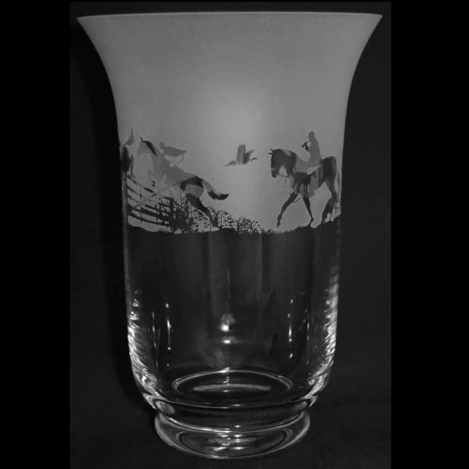 COUNTRY LIFE HUNTING SCENE 23.5cm Crystal Glass Vase