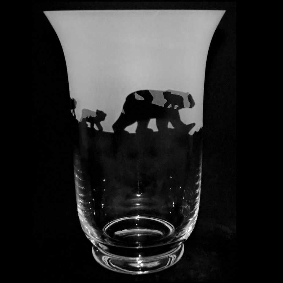 POLAR BEAR 23.5cm Crystal Glass Vase