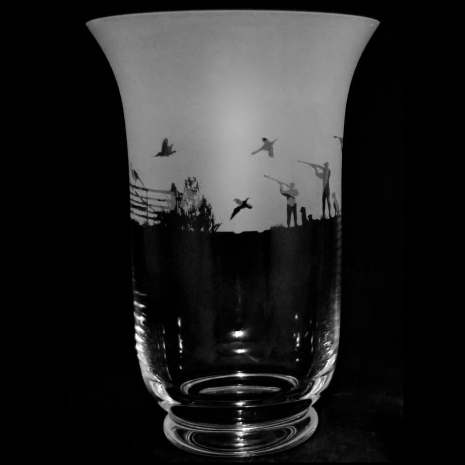 COUNTRY LIFE SHOOTING SCENE 23.5cm Crystal Glass Vase