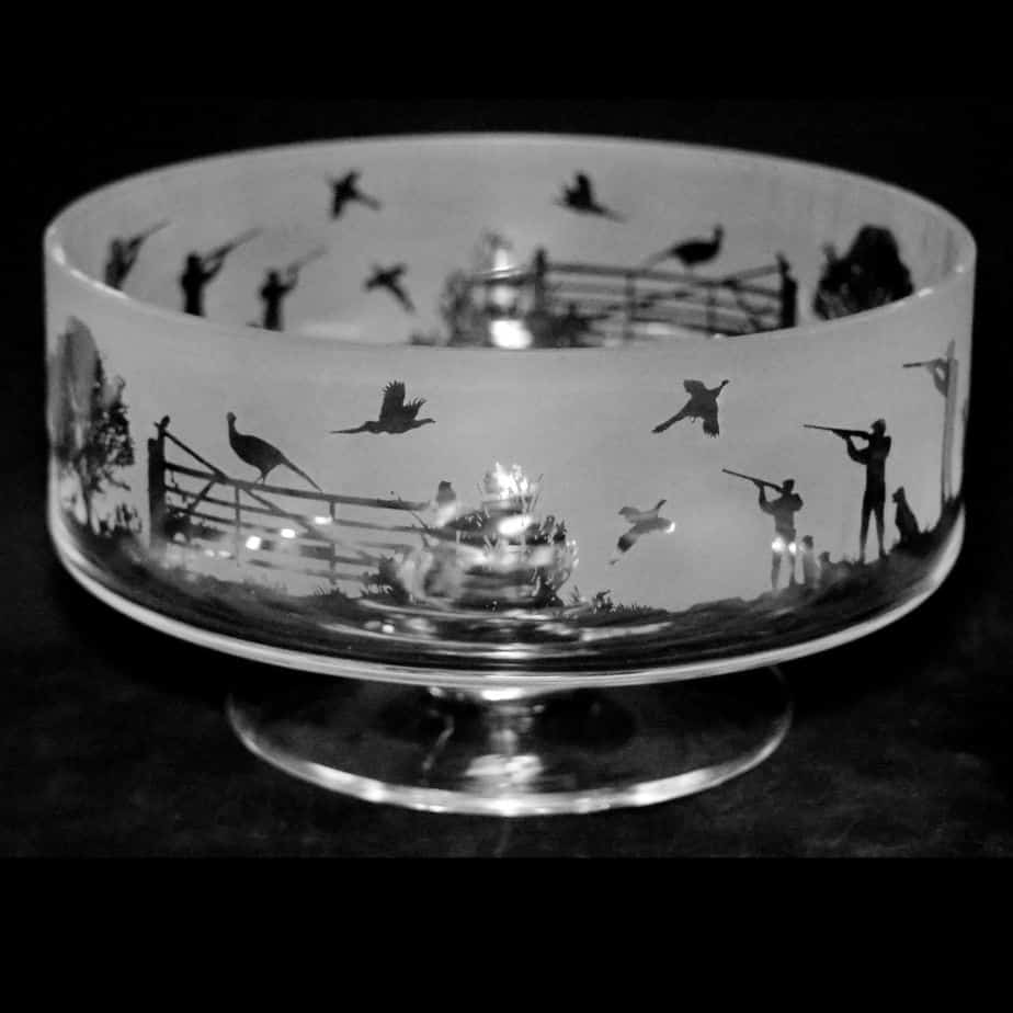COUNTRY LIFE SHOOTING 24cm Crystal Glass Footed Comport Bowl
