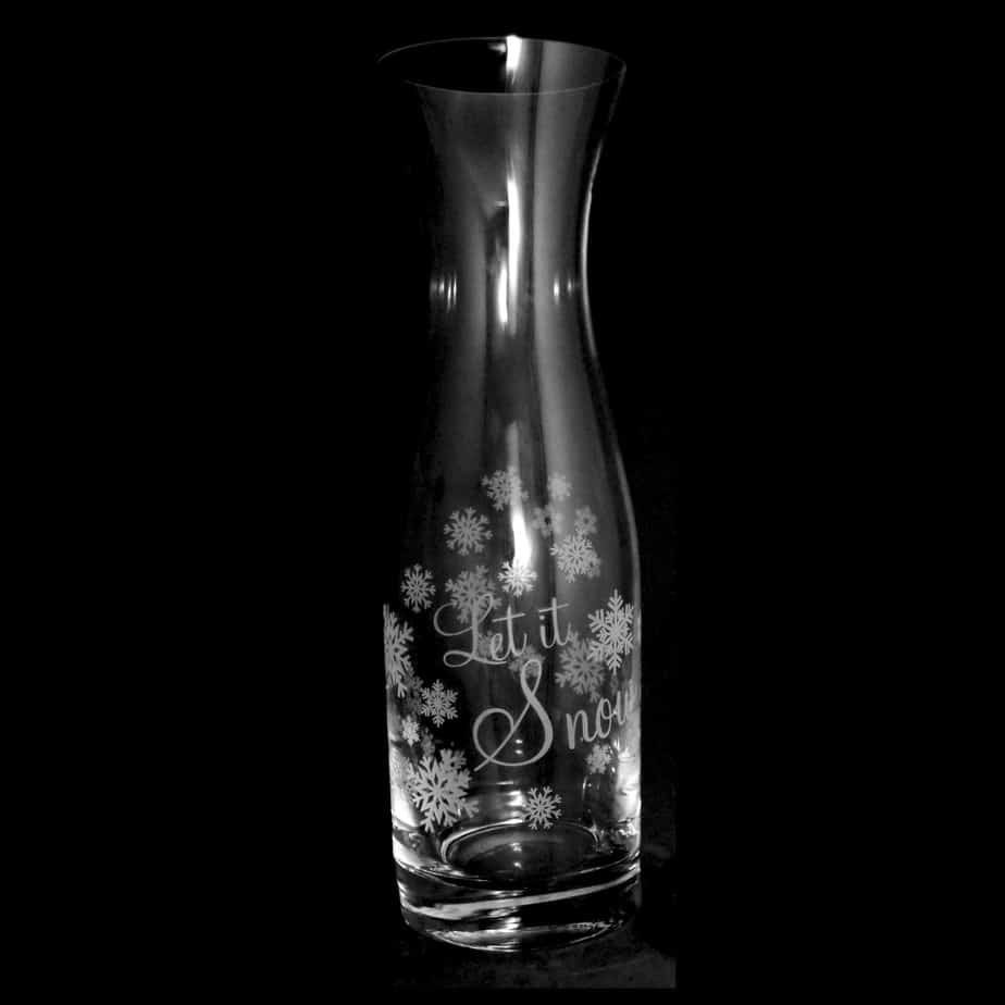 LET IT SNOW 1 Litre Crystal Glass Carafe