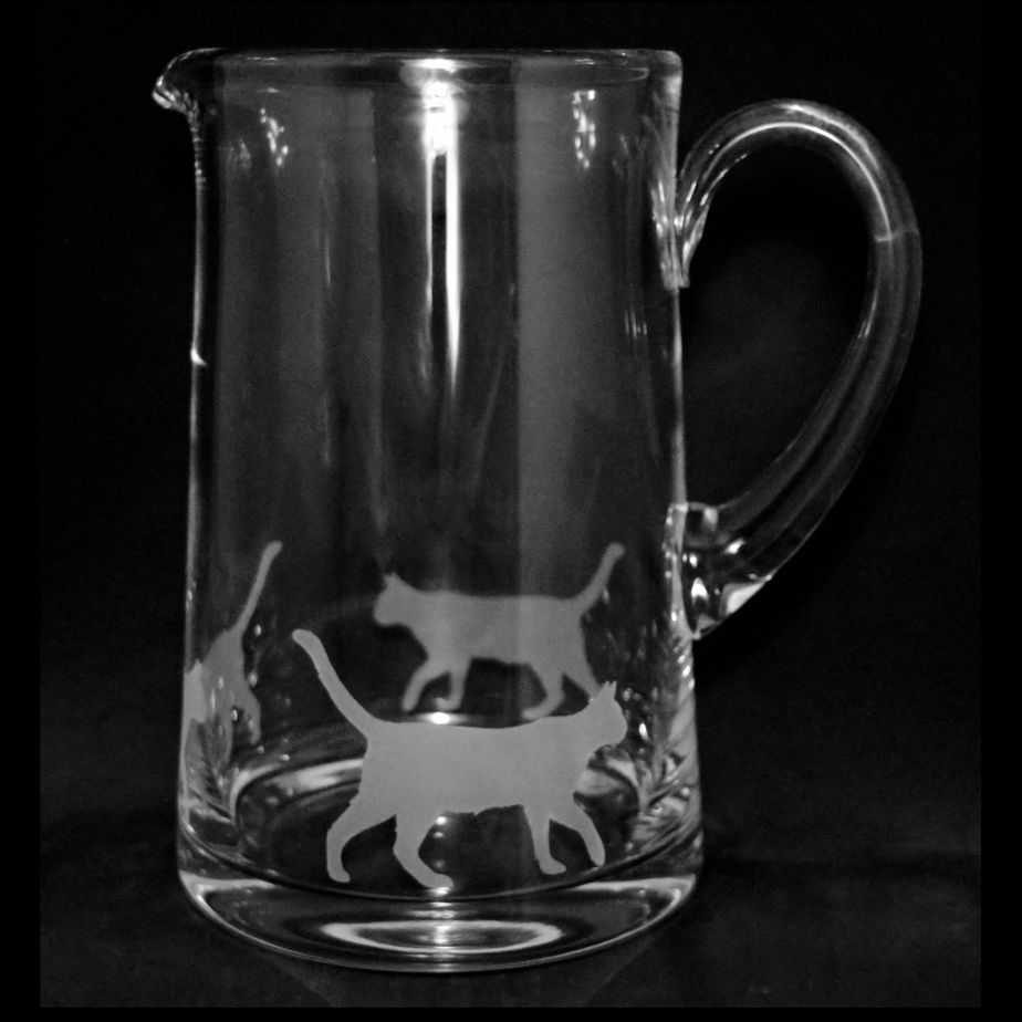 WALKING CAT Large 1.7 Litre Glass Tapered Jug