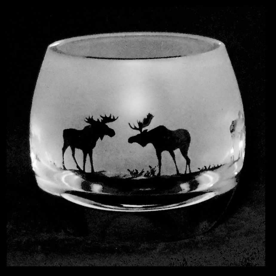 MOOSE Crystal Glass Tea Light Holder