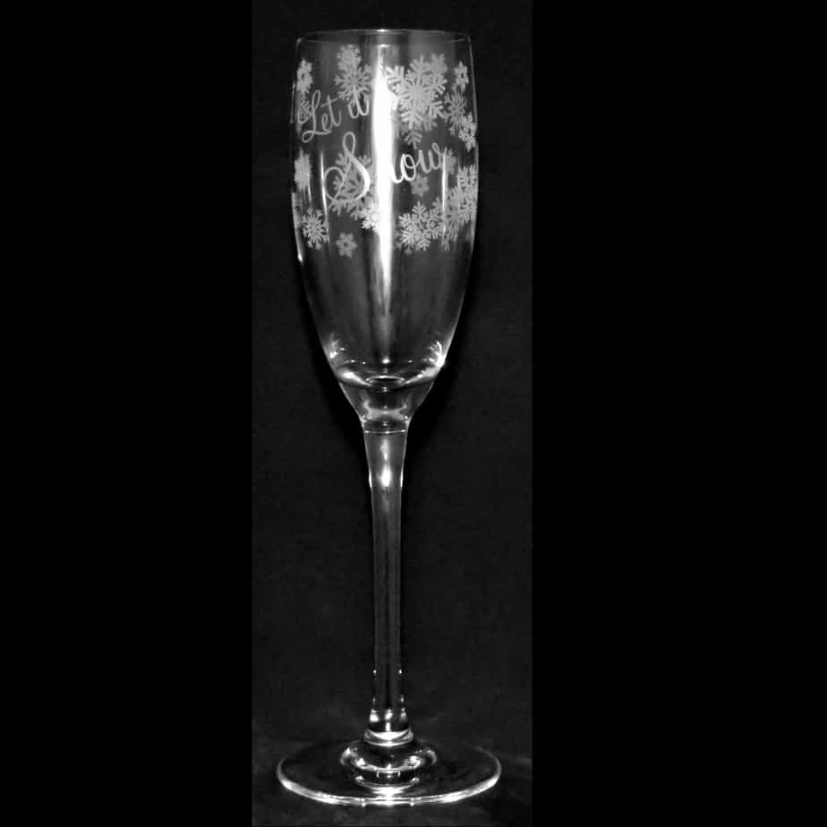 LET IT SNOW Crystal Flute Champagne Glass 16cl