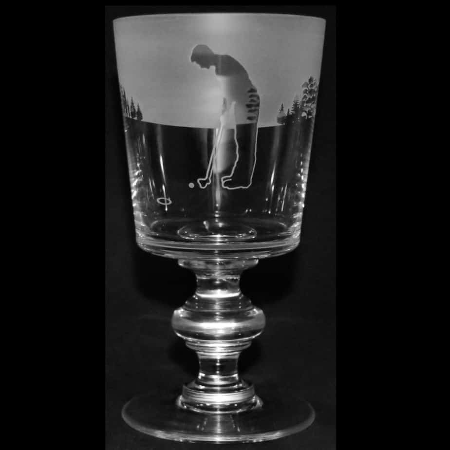 GOLF MAN (PUTT) Crystal Chalice Goblet 30cl