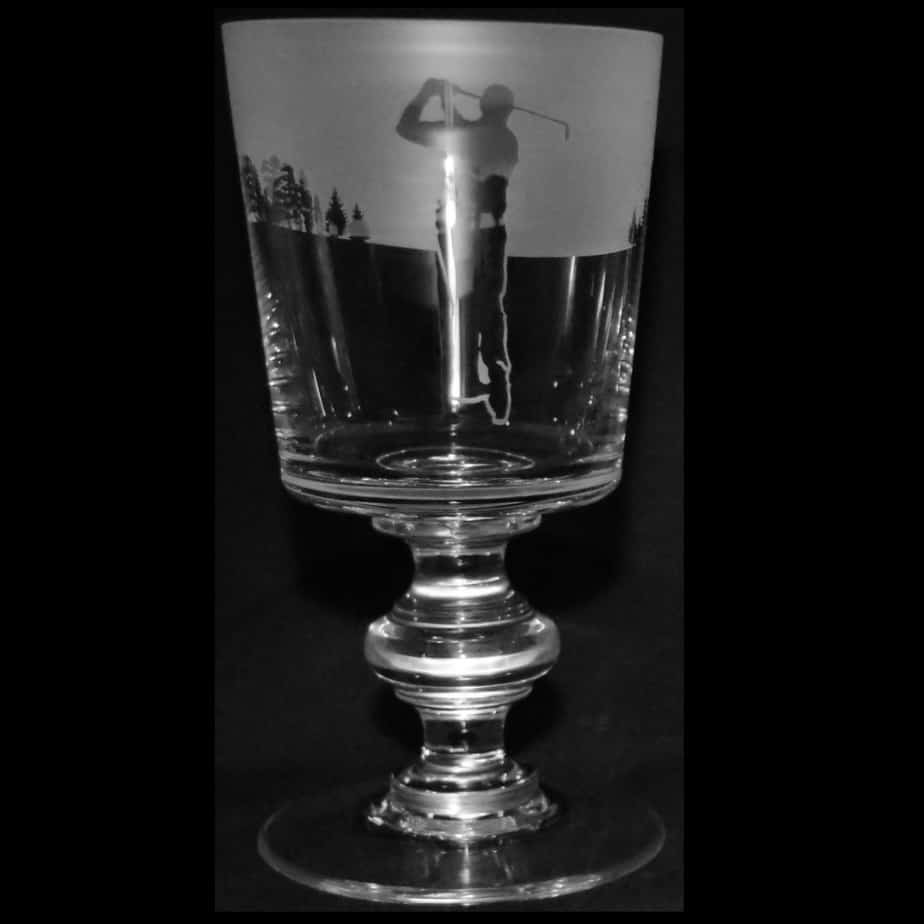 GOLF MAN (SWING) Crystal Chalice Goblet 30cl