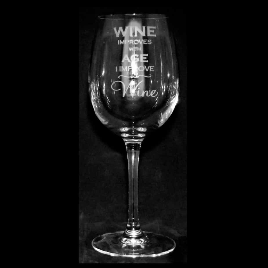 WINE IMPROVES WITH AGE Crystal Wine Glass 35cl