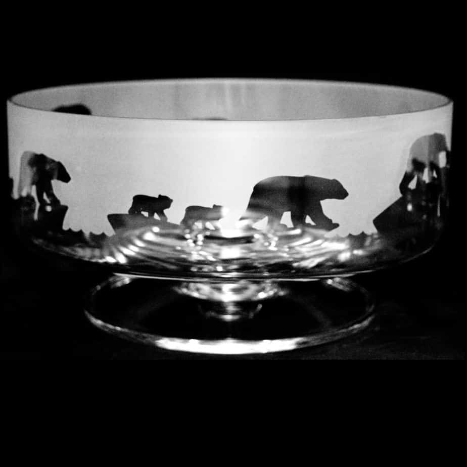POLAR BEAR 14cm Small Crystal Glass Footed Comport Bowl