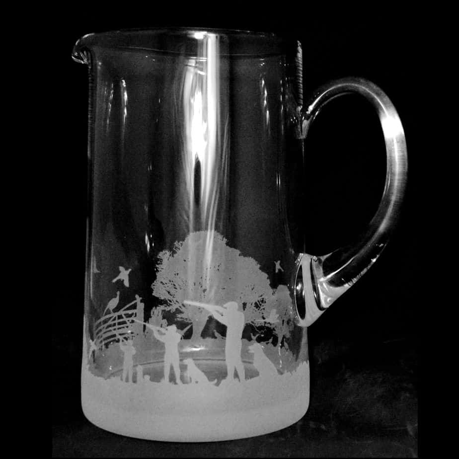 COUNTRY LIFE SHOOTING SCENE Large 1.7 Litre Glass Tapered Jug