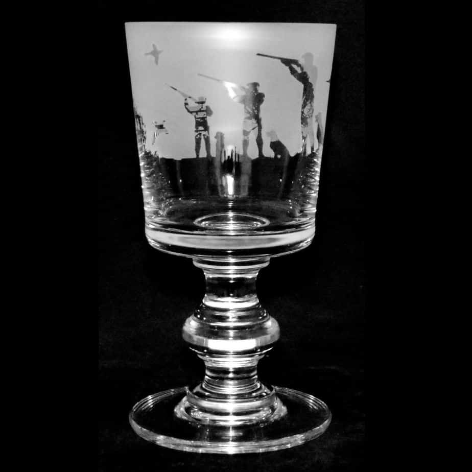 COUNTRY LIFE SHOOTING SCENE Crystal Chalice Goblet 30cl