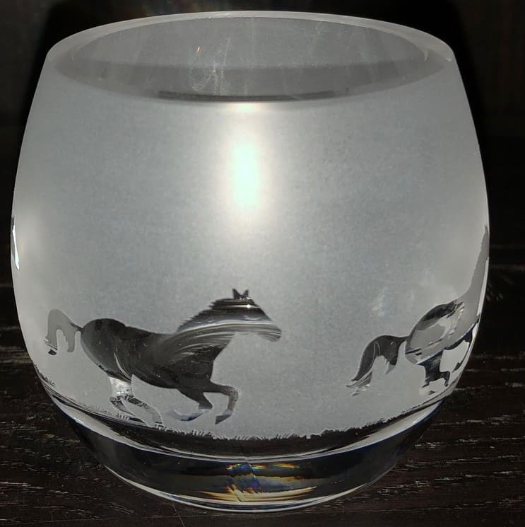 GALLOPING HORSE Crystal Glass Tea Light Holder