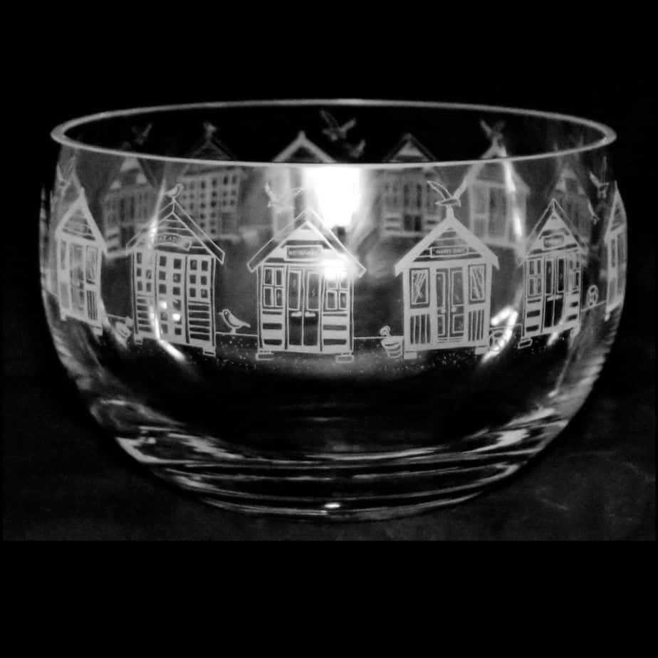 BEACH HUTS Large Crystal Glass Bowl