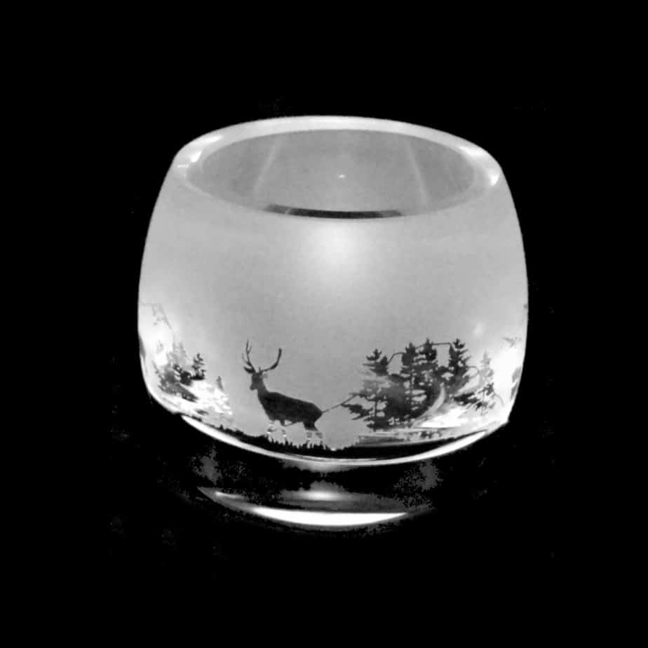 SCOTTISH SCENE Crystal Glass Tea Light Holder